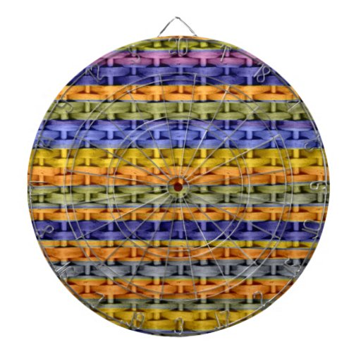 Colorful stripes wicker retro graphic design dartboard with darts