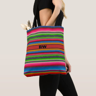 Colorful Stripes with (or without) your Initial(s) Tote Bag