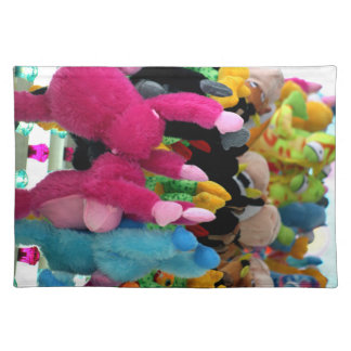 colorful stuffed animals abstract at fair midway place mat