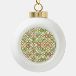 Colorful Stylized Floral Boho Ceramic Ball Christmas Ornament