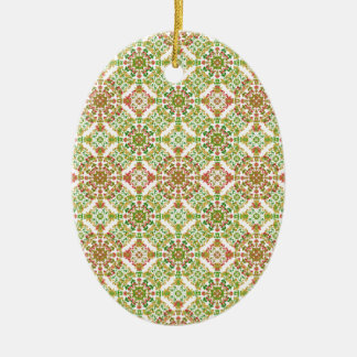 Colorful Stylized Floral Boho Ceramic Ornament