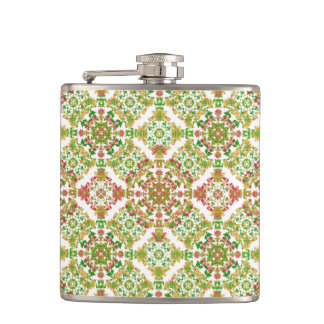 Colorful Stylized Floral Boho Hip Flask