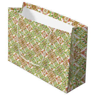 Colorful Stylized Floral Boho Large Gift Bag