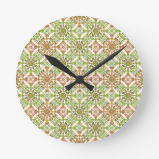 Colorful Stylized Floral Boho Round Clock