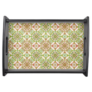 Colorful Stylized Floral Boho Serving Tray