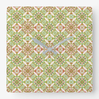 Colorful Stylized Floral Boho Square Wall Clock