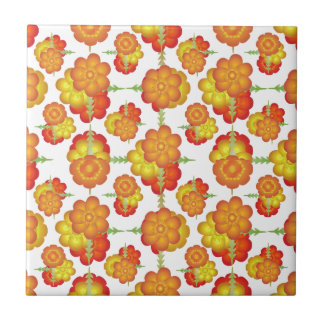 Colorful Stylized Floral Pattern Ceramic Tiles