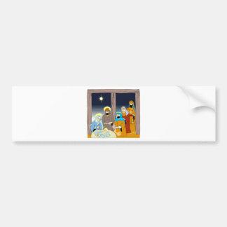 Colorful Stylized Nativity Scene Gift Christmas Bumper Sticker