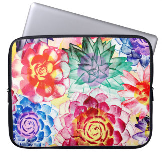 Colorful Succulent Plants Beautiful Watercolor Laptop Sleeve