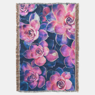 Colorful Succulent Plants Throw Blanket