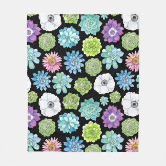 Colorful Succulents and Flowers Blanket
