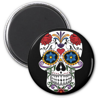 Colorful Sugar Skull 2¼ Inch Round Magnet
