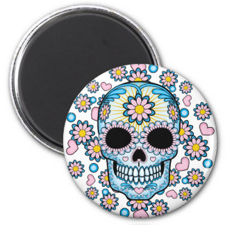 Colorful Sugar Skull 2 Inch Round Magnet
