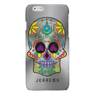 Colorful Sugar Skull 2 Metallic Silver Background