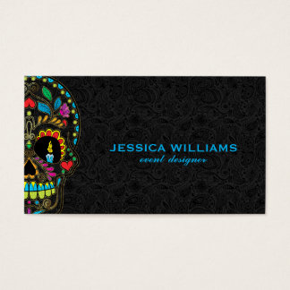 Colorful Sugar Skull & Black Paisley Business Card