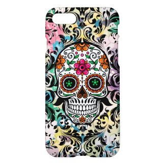 Colorful Sugar Skull & Black Swirls iPhone 8/7 Case