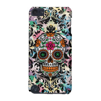 Colorful Sugar Skull & Black Swirls iPod Touch (5th Generation) Cover