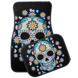 Colorful Sugar Skull Car Mat