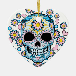 Colorful Sugar Skull Ceramic Heart Ornament