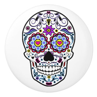 Colorful Sugar Skull Ceramic Knob