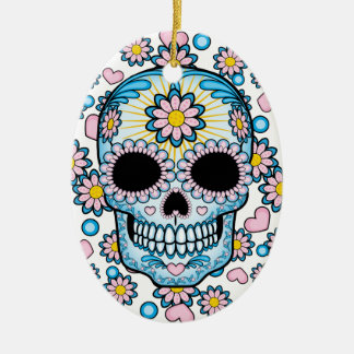 Colorful Sugar Skull Ceramic Oval Ornament