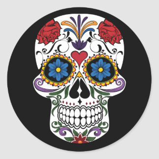 Colorful Sugar Skull Classic Round Sticker
