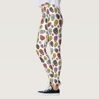 Colorful Sugar Skull Day of the Dead Print Leggings