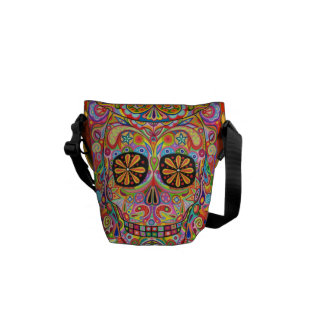 Colorful Sugar Skull Inspired Mini Messenger Bag