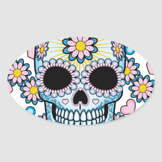 Colorful Sugar Skull Oval Sticker