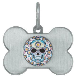 Colorful Sugar Skull Pet Tag