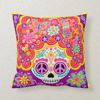 Colorful Sugar Skull Pillow - Day of the Dead Girl