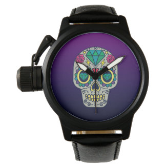 Colorful Sugar Skull Purple Ombre Wrist Watch