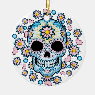 Colorful Sugar Skull Round Ceramic Ornament