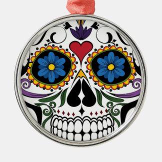 Colorful Sugar Skull Silver-Colored Round Ornament