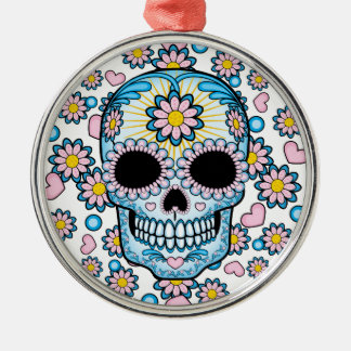 Colorful Sugar Skull Silver-Colored Round Ornament