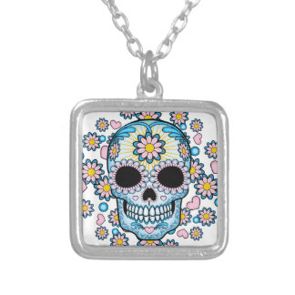 Colorful Sugar Skull Silver Plated Necklace