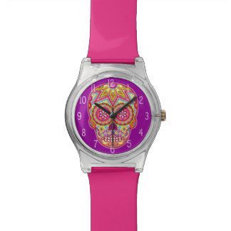 Colorful Sugar Skull Watch - Day of the Dead Art