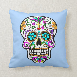 Colorful Sugar Skull with Cross and Flowers Throw Pillow