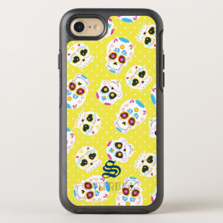Colorful Sugar Skulls and Polka Dots on Yellow OtterBox Symmetry iPhone 8/7 Case
