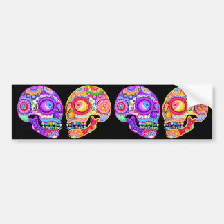 Colorful Sugar Skulls Bumper Sticker