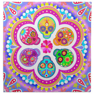 Colorful Sugar Skulls Cloth Napkins Set of 4