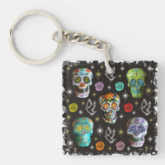 Colorful Sugar Skulls Keychain