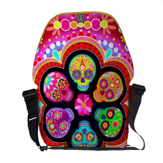 Colorful Sugar Skulls Messenger Bag