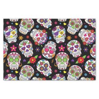 Colorful Sugar Skulls On Black Tissue Paper