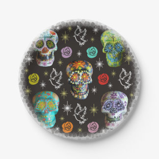 Colorful Sugar Skulls Paper Plate