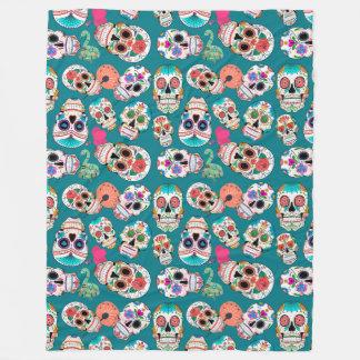 Colorful Sugar Skulls Pattern Fleece Blanket
