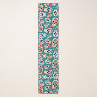Colorful Sugar Skulls Pattern on Teal Scarf