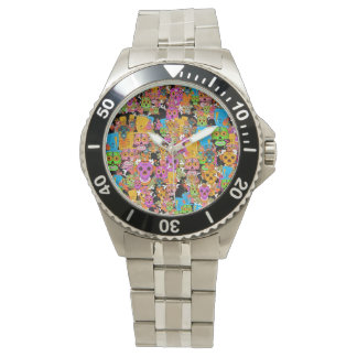 Colorful Sugar Skulls Pattern Watch