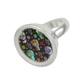 Colorful Sugar Skulls Ring