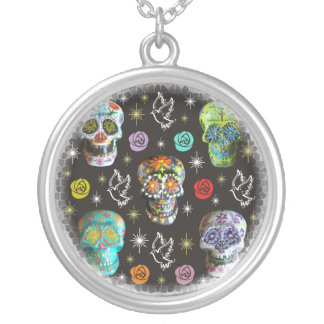 Colorful Sugar Skulls Silver Plated Necklace